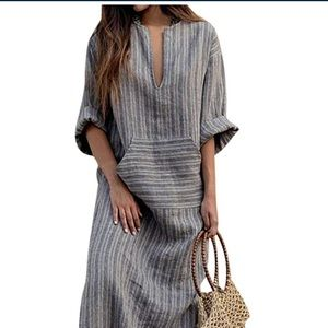 Linen blend Blue Striped Tunic dress S